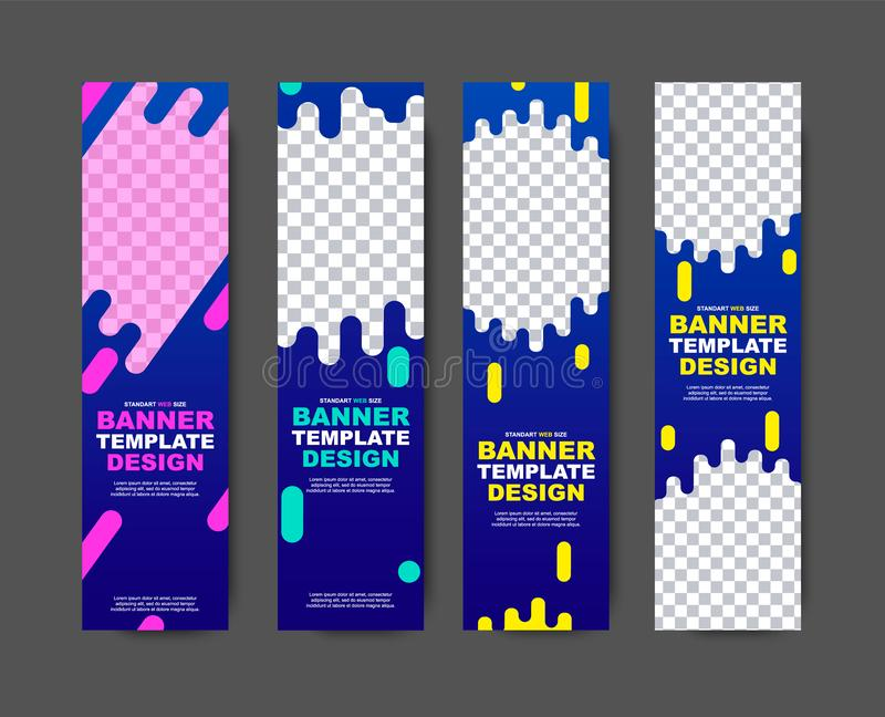 Vector vertical web template for violet-blue banners with abstract shapes for photos and text. stock illustration