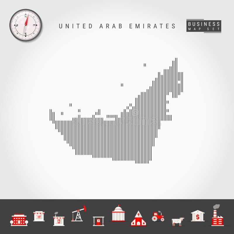Vector Verticale Lijnenkaart van Verenigde Arabische Emiraten Gestreept Silhouet van de V.A.E Realistisch kompas Bedrijfs pictogr vector illustratie