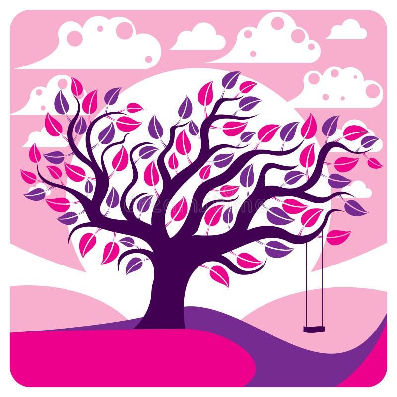 Vector verzweigten Baum mit Schwingen auf schönem bewölktem Frühling landsc lizenzfreie abbildung