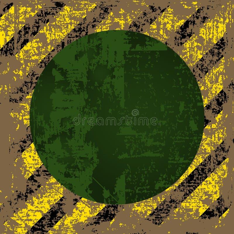 Vector vestido velho, esfarrapado, risque o quadrado de listras pretas amarelas com um círculo verde no meio ilustração do vetor