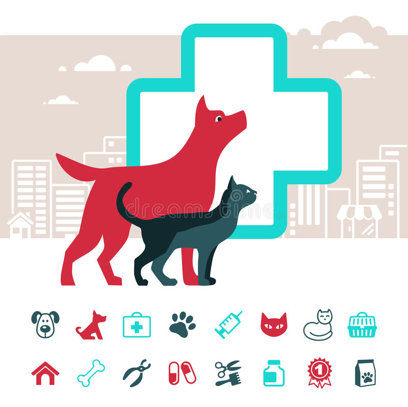 Vector veterinary emblem and pets icon set. Vector veterinary emblem with dog and cat. 16 pets icon set