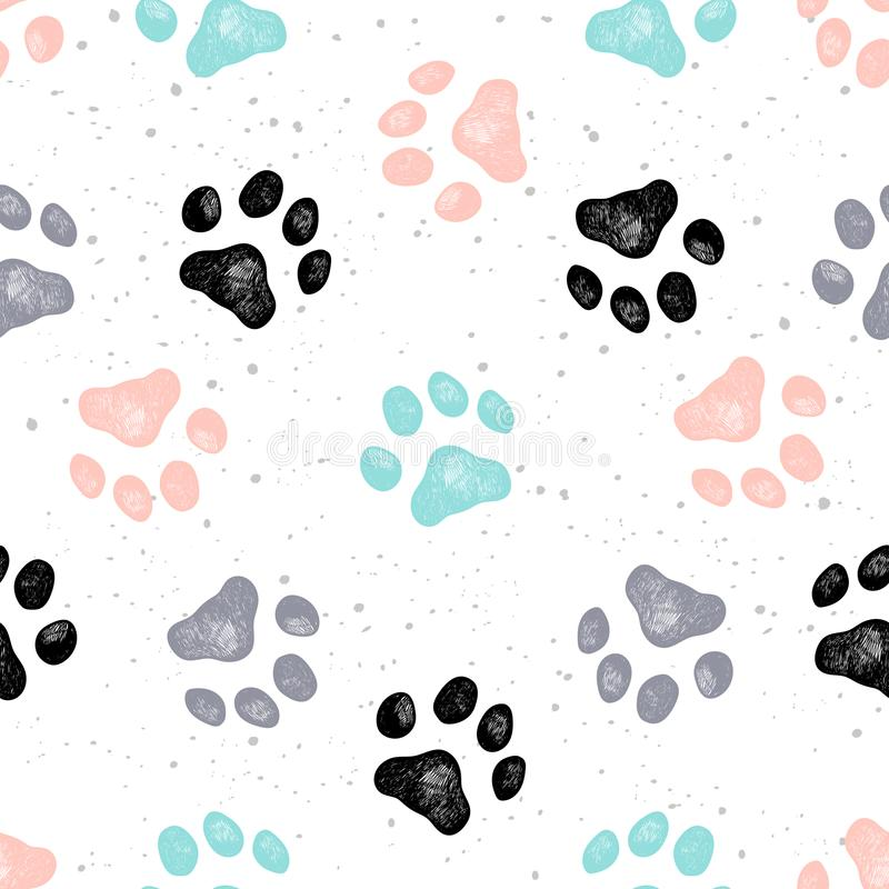 Vector Vexture de la impresión de la pata del perro ilustración del vector