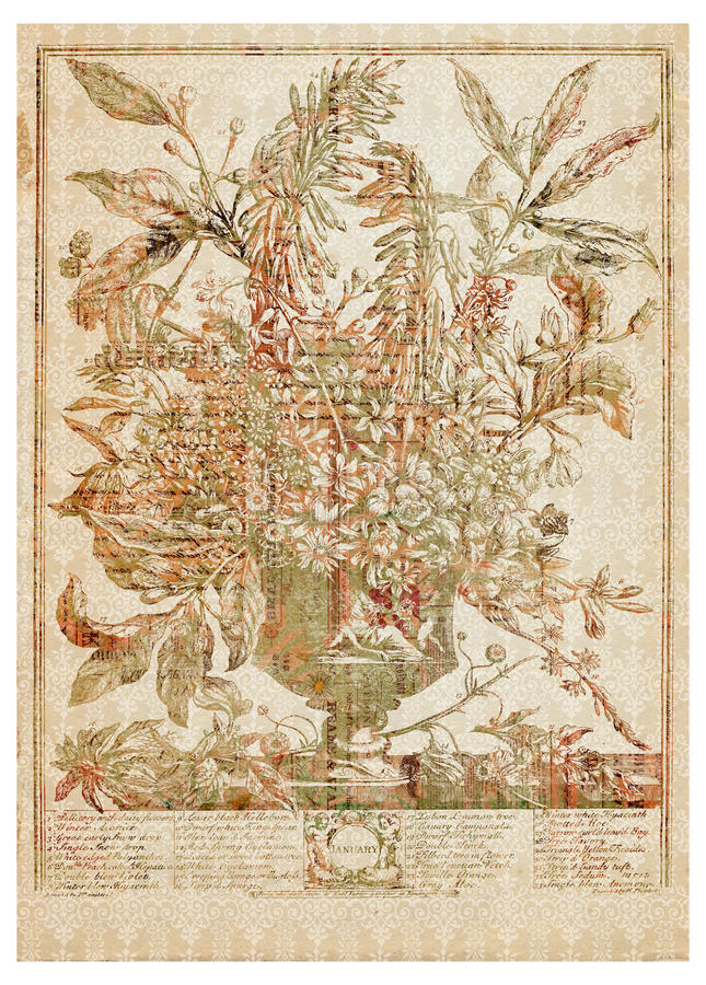 Vector Victoriaans bloemboeket in vaas met tekst royalty-vrije illustratie