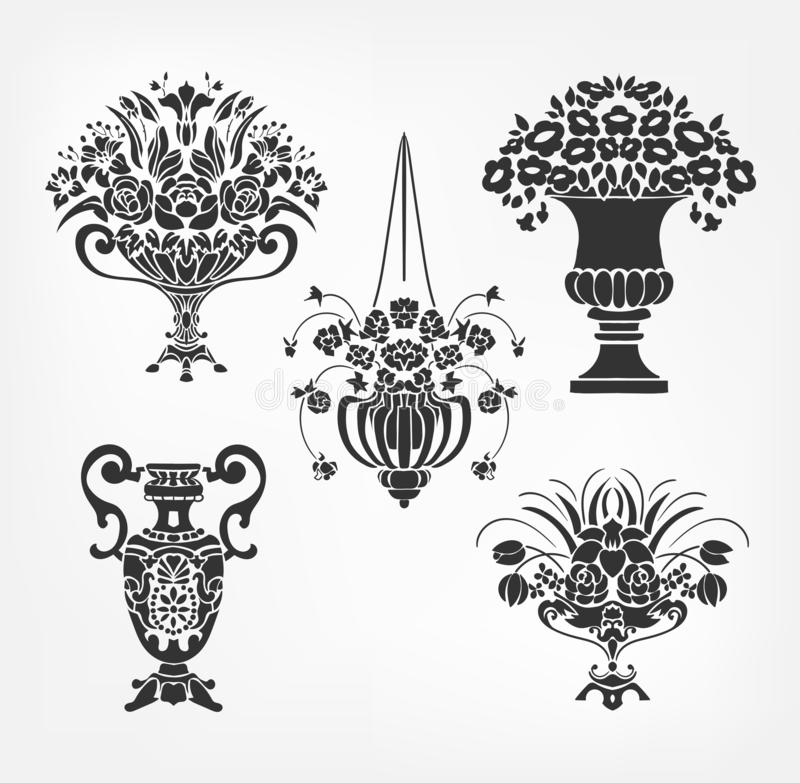 Vector victorian baroque design elements flower vase set. Vector victorian baroque design elements flower vase stock illustration