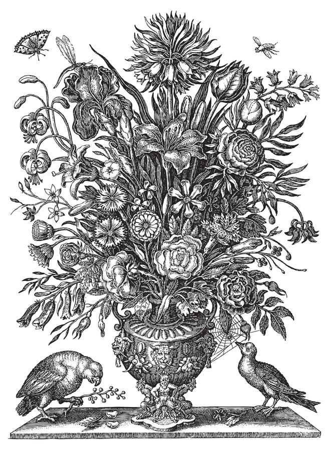 Vector Victorian flower bouquet in vase with birds. Black and white vector line art Victorian style bouquet of flowers in vase with parrot and partridge birds stock illustration