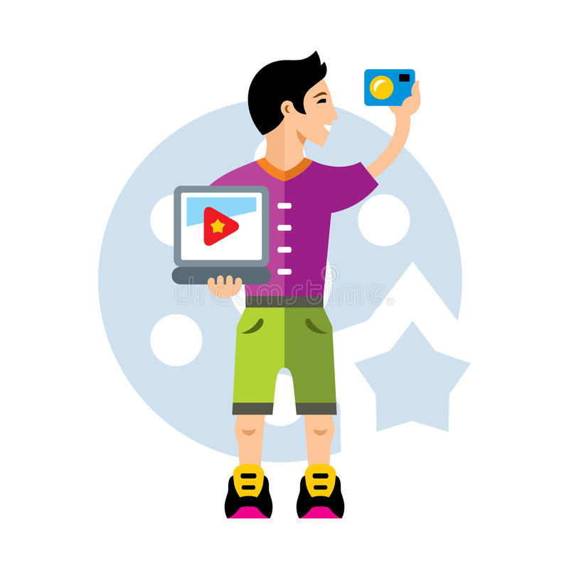Vector Video Blogger. Flat style colorful Cartoon illustration. Handsome man takes a film of himself. Isolated on a white background stock illustration