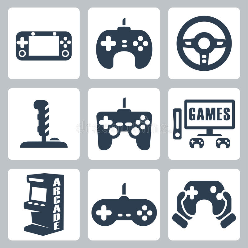 Vector video games icons. Set stock illustration