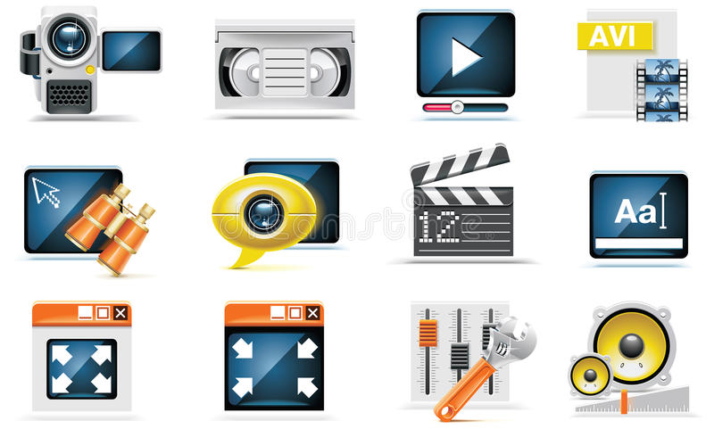 Vector video icon set stock illustration