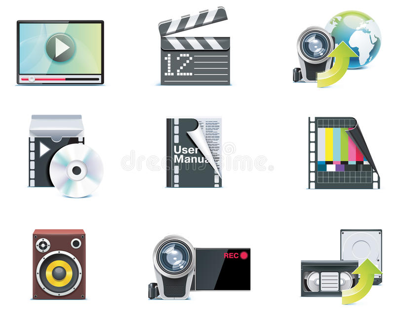 Vector video icons. Set of the video editing related icons