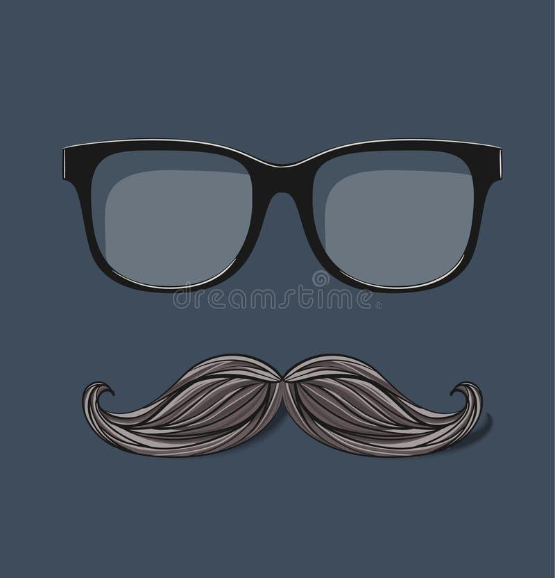 Vector vidros do moderno e o bigode tirado no cinza ilustração royalty free