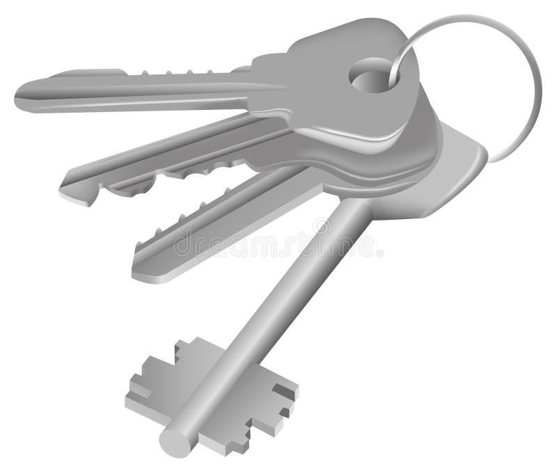 Vector Vier sleutels op ring royalty-vrije illustratie