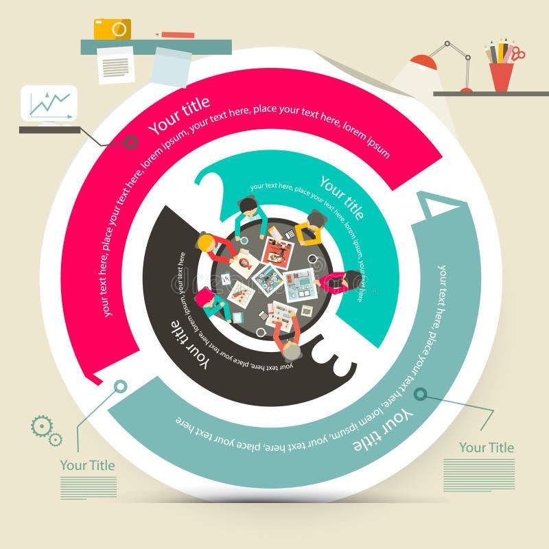 Vector Vier Stappencirkel Infographics vector illustratie