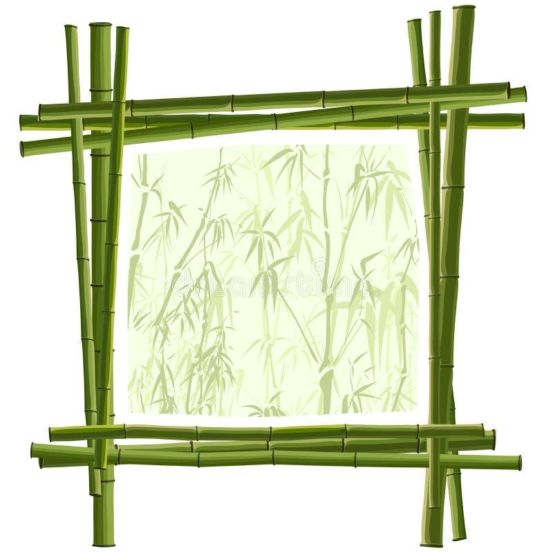 Vector vierkant frame van groen bamboe. royalty-vrije illustratie