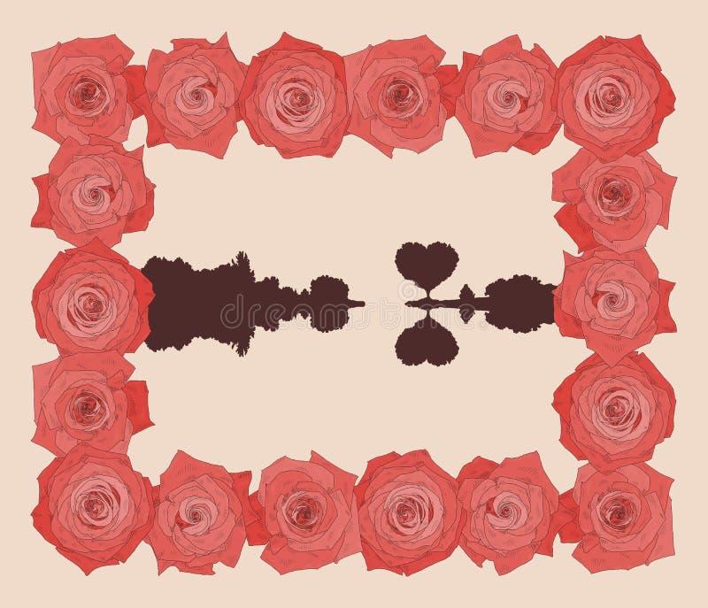 Vector vierkant kader met mooie rozen stock illustratie