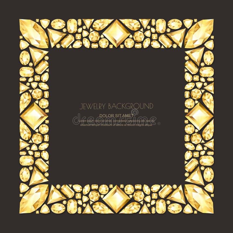 Vector vierkant kader van realistische gouden gemmen en juwelen op zwarte achtergrond Glanzende het ontwerpelementen van diamante stock illustratie
