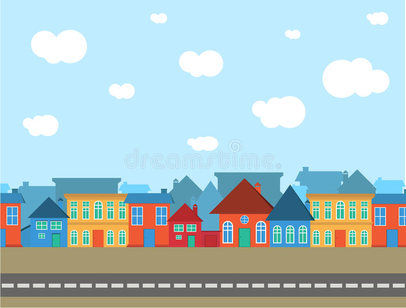 Vector village different style with blue sky stock illustration