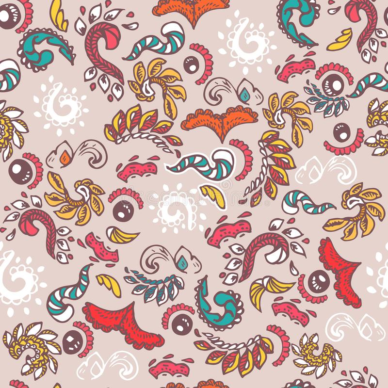 Vector vintage abstract doodle elements. Seamless pattern royalty free illustration