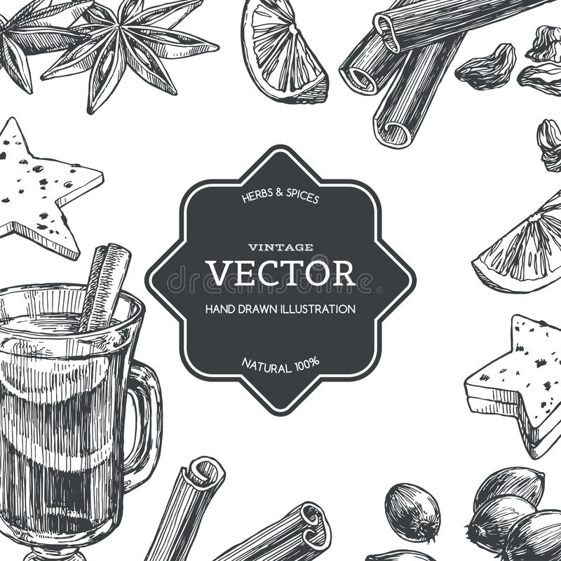 Vector vintage background with mulled wine in cup and ingredients for it isolated on white. Hand drawn texture with traditional vector illustration