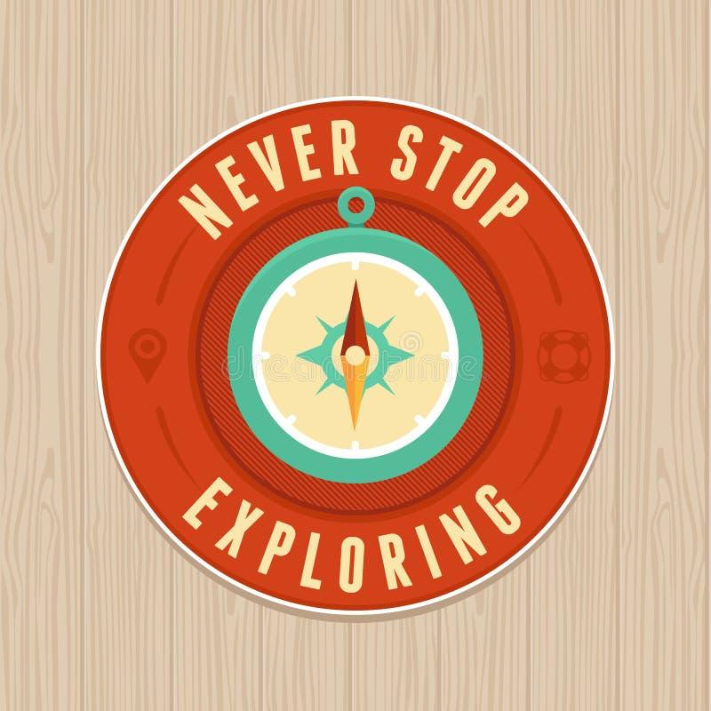 Vector vintage badge - flat icon. Travel concept stock illustration