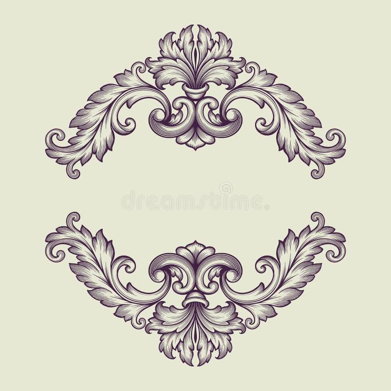 Vector vintage Baroque border frame design royalty free illustration