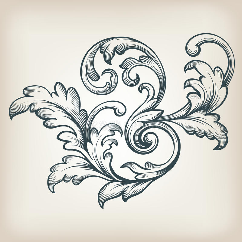 Free Vector Vintage Baroque Border Scroll Design Royalty Free Stock Images - 45963279