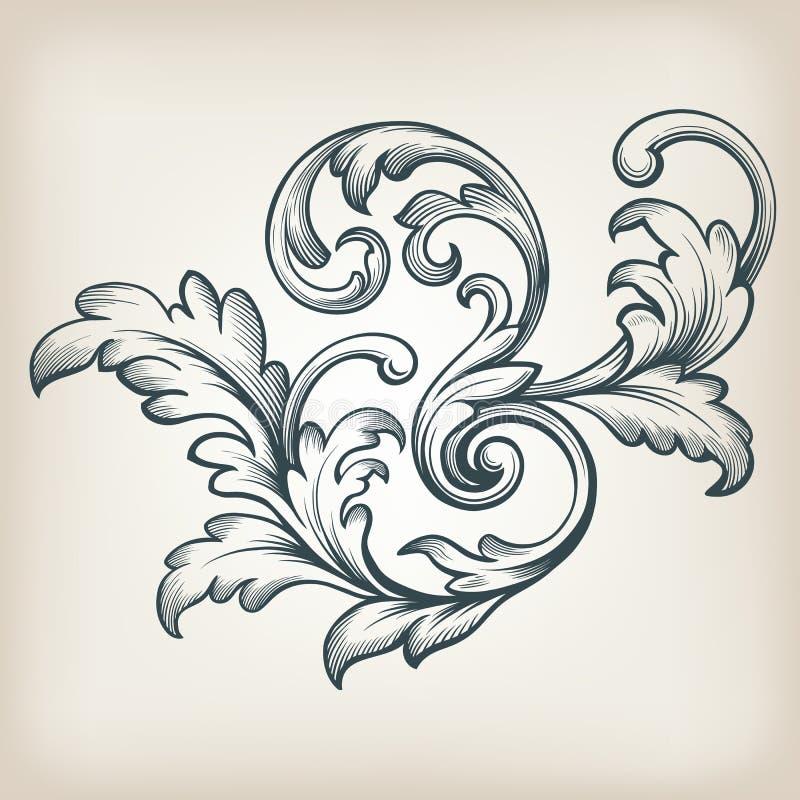 Vector vintage Baroque border scroll design. Vintage Baroque scroll design frame engraving acanthus floral border pattern element retro style filigree vector royalty free illustration