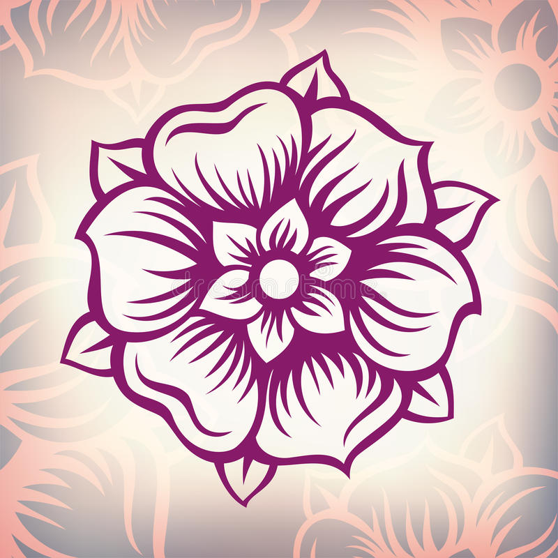 Download Vector Vintage Baroque Engraving Flower Stock