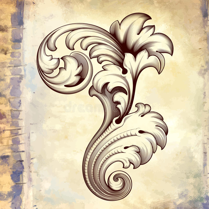 Vector vintage baroque floral scroll pattern stock illustration
