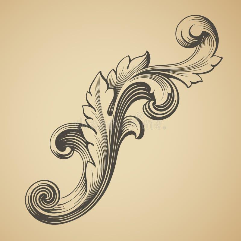 Vector vintage Baroque pattern design element. Vector vintage Baroque design frame pattern element engraving retro style