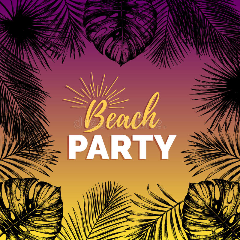 Vector vintage beach party illustration. Exotic palm leaves background. Hand sketched jungle foliage poster. Tropic plants frame vector illustration