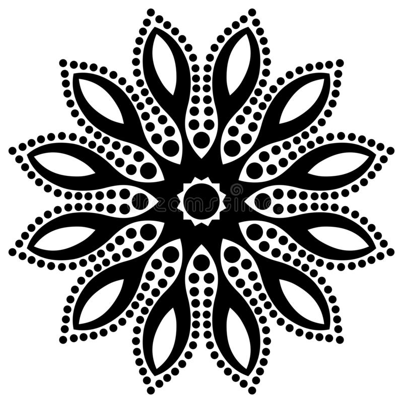Abstract Vector Black and white Mandala geometric flower petals, star in center design. vector illustration
