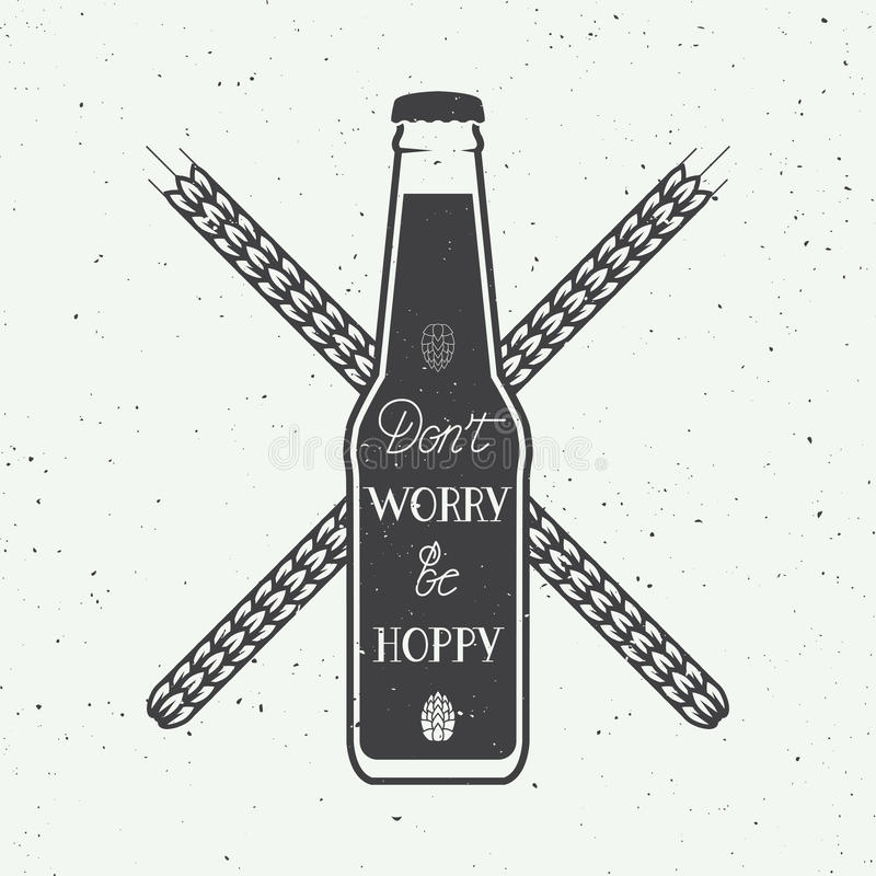Vector vintage beer logo with hand lettering fun motivation quote vector illustration
