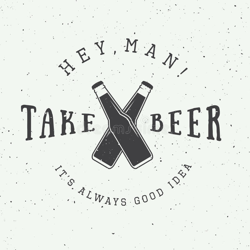 Vector vintage beer logo with slogan and fun motivation stock illustration