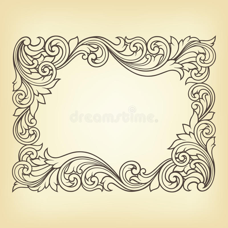 Download Vector Vintage Border Frame Engraving Stock Vector - Illustration of floral, calligraphy: 25797977