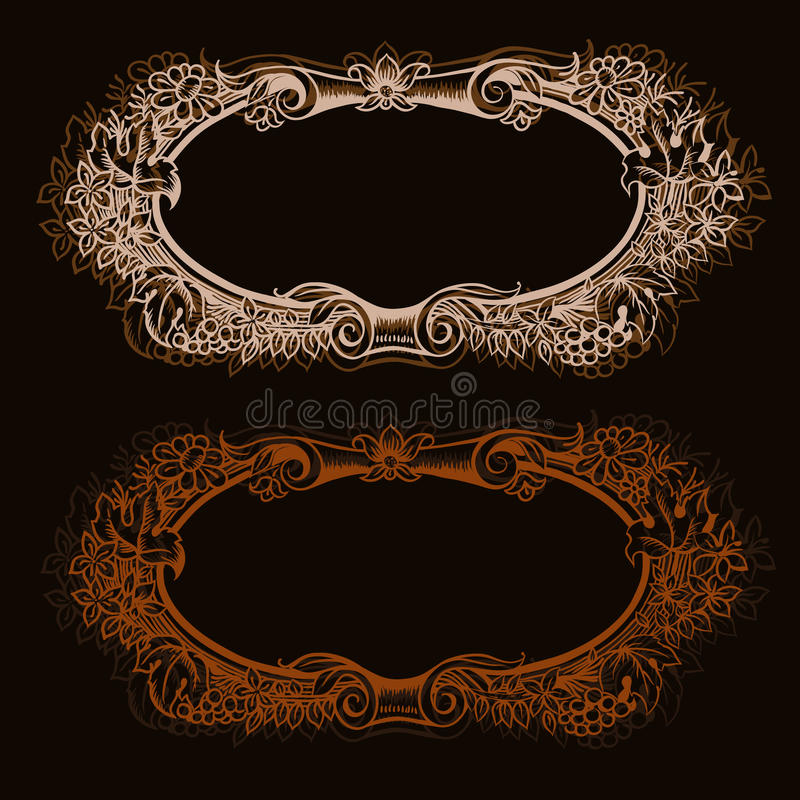 Vector vintage border frame engraving with retro ornament patter. N in antique rococo style decorative design stock illustration