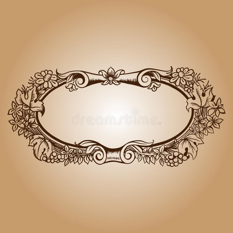 Vector vintage border frame engraving with retro ornament patter. N in antique rococo style decorative design royalty free illustration