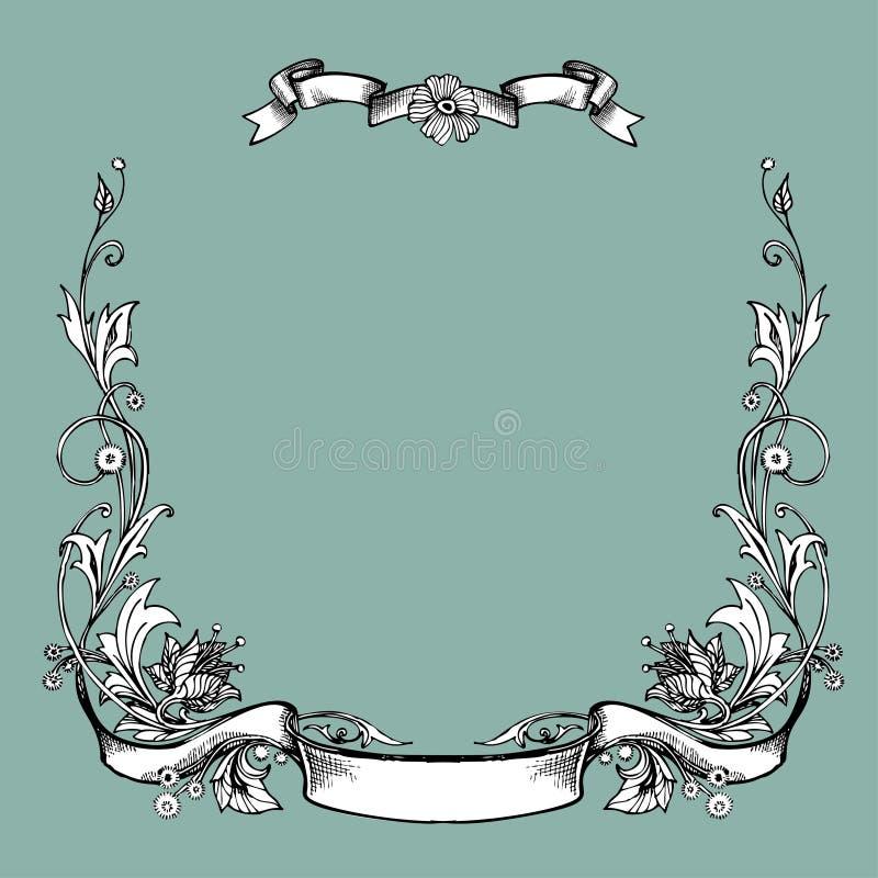 Vector vintage border frame engraving with retro ornament pattern in antique art nouveau style decorative design stock illustration