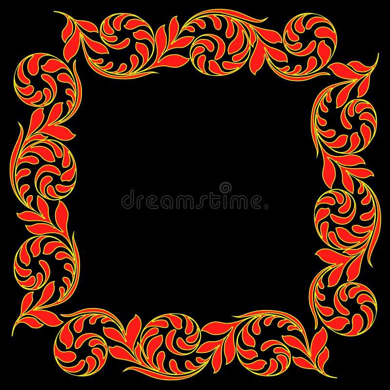 Vector vintage border frame engraving with retro ornament pattern. decorative design stock illustration