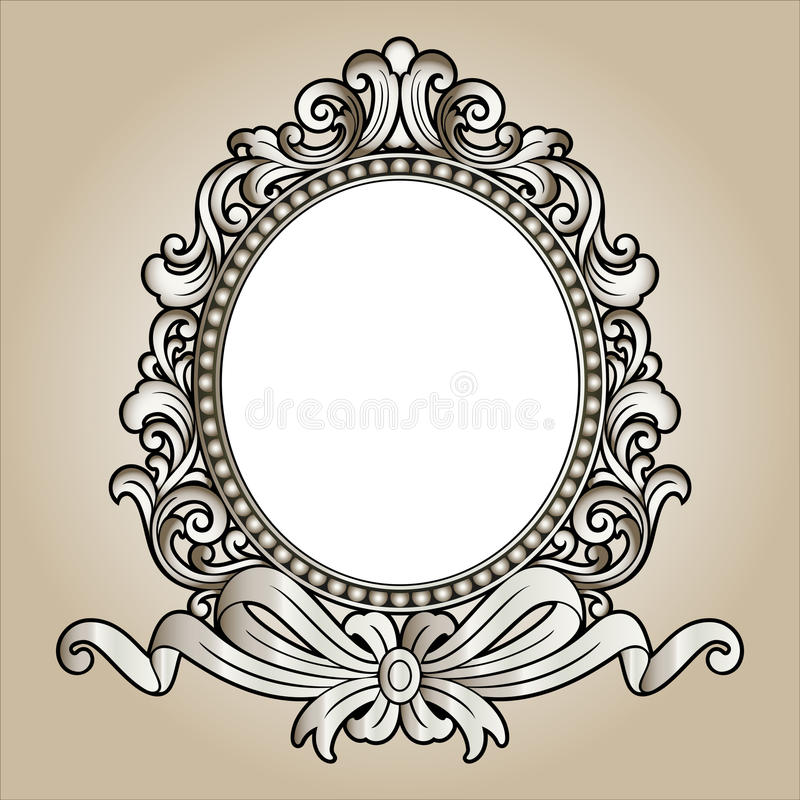 Vector vintage border frame engraving with retro ornament Vector. Vector vintage border frame logo engraving with retro ornament pattern in antique rococo style stock illustration