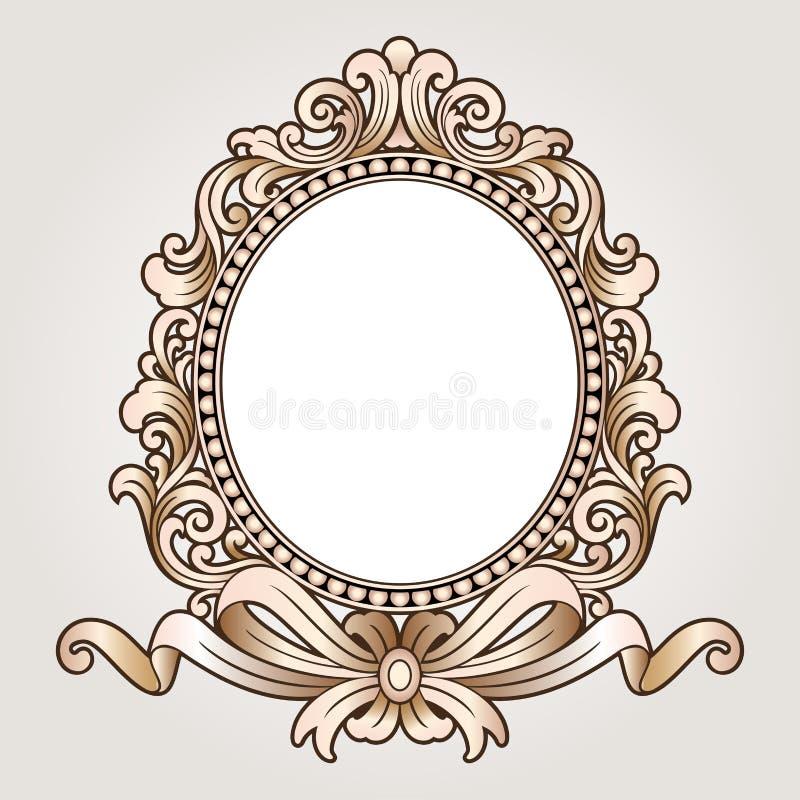 Vector vintage border frame logo engraving with retro for Rococo decorative style