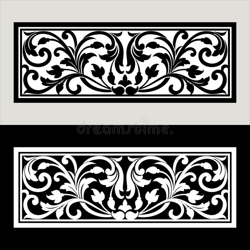 Vector vintage border frame logo engraving with retro ornament pattern in antique rococo style decorative design. Vector vintage border frame engraving with vector illustration