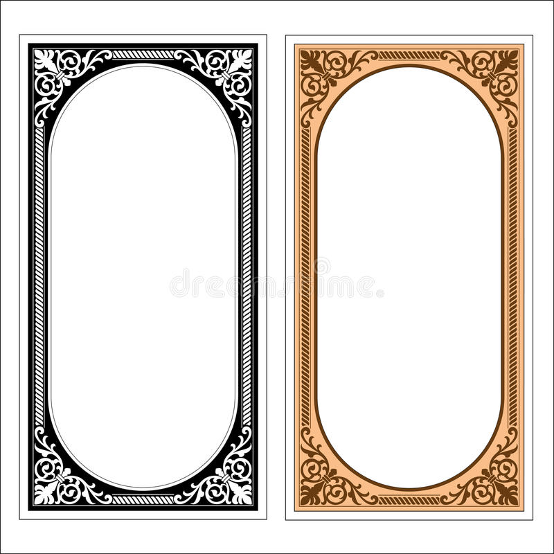 Vector vintage border frame logo engraving with retro ornament pattern in antique rococo style decorative design. Vector vintage border frame engraving with royalty free illustration
