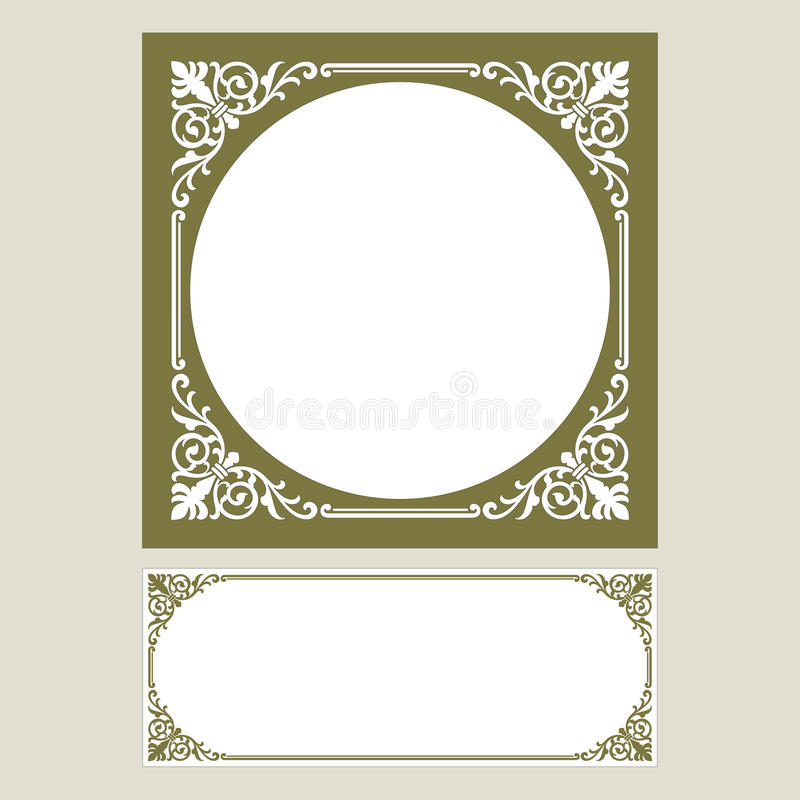 Vector vintage border frame logo engraving with retro ornament pattern in antique rococo style decorative design. Vector vintage border frame engraving with stock illustration