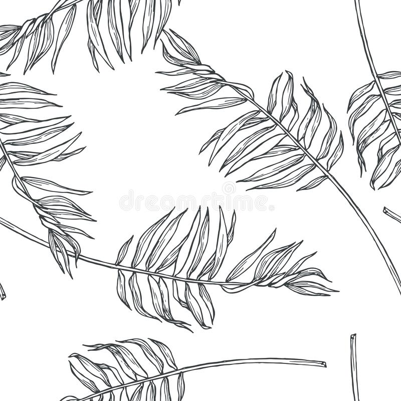 Vector vintage botanical seamless pattern with palm leaves in en royalty free illustration