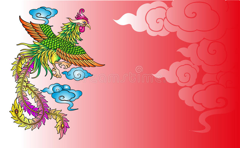 Vector vintage Chinese phoenix engraving. With retro ornament pattern in antique rococo style decorative design stock illustration