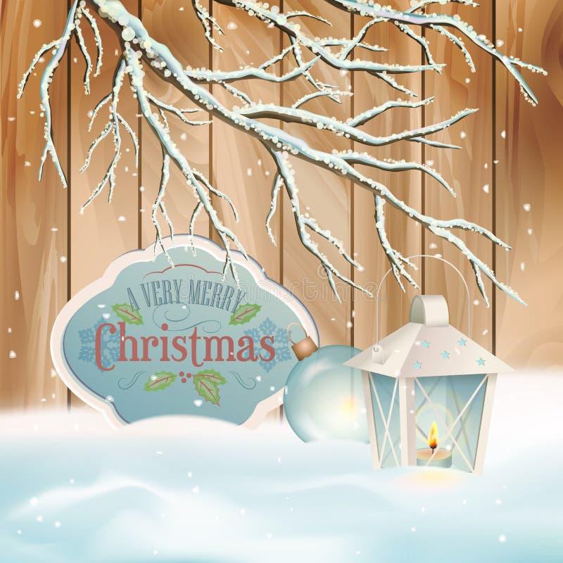 Vector Vintage Christmas Branch Lantern Background royalty free illustration