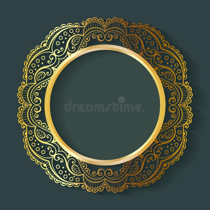 Vector vintage circle frame made of lace with shadow. stock illustration