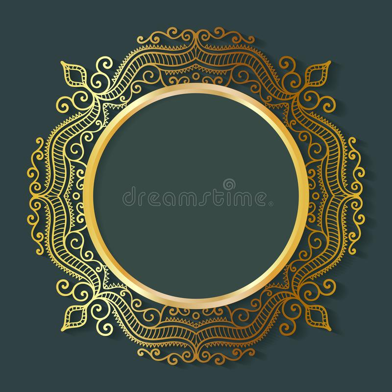 Vector vintage circle frame made of lace with shadow. royalty free illustration