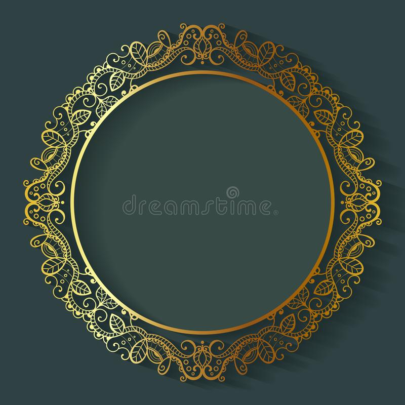 Vector vintage circle frame made of lace with shadow. vector illustration