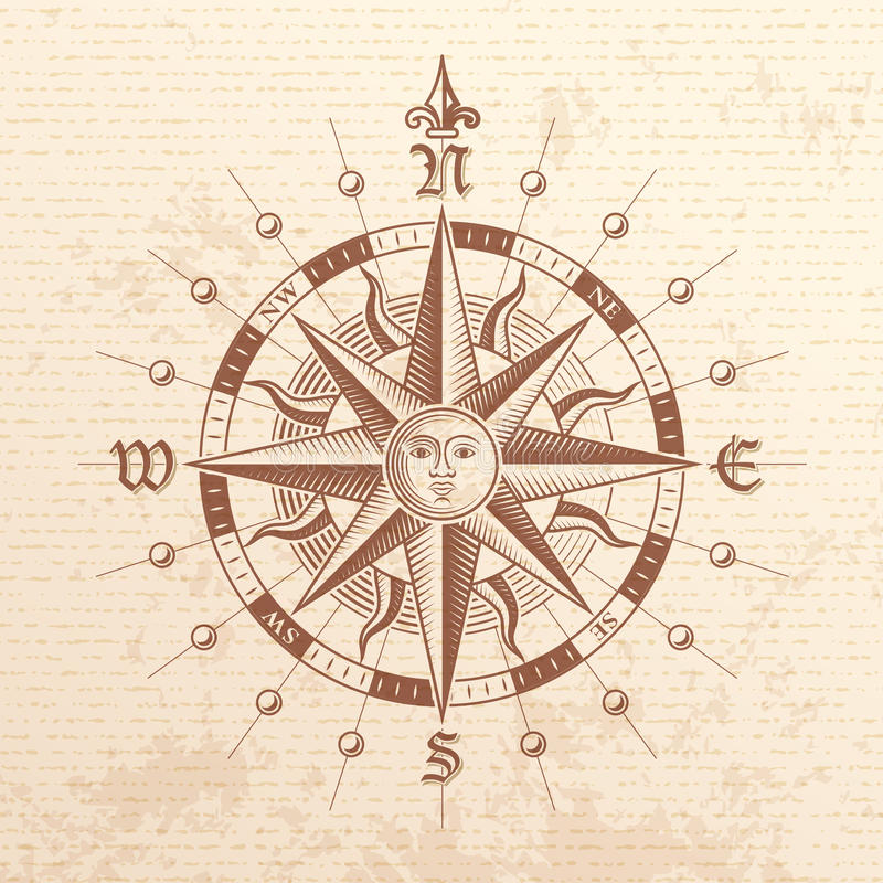 Vector Vintage Compass Rose. Illustration of a Vector hi quality Vintage Compass Rose